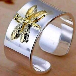 .925 stamped dragonfly adjustable ring